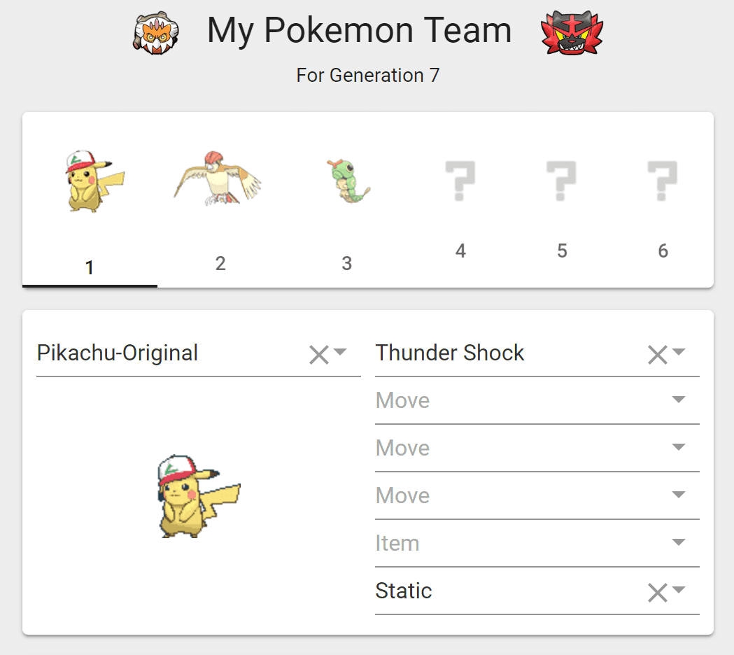 My Pokemon Team